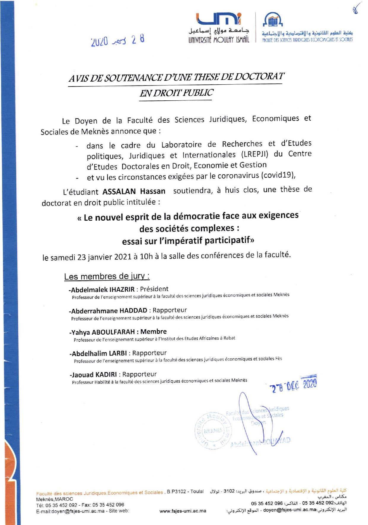SOUTENANCE DE THÈSE DE DOCTORAT 23-01-2021