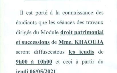 AVIS AUX ÉTUDIANTS DU 6ÈME SEMESTRE DROIT PRIVÉ EN LANGUE FRANÇAISE