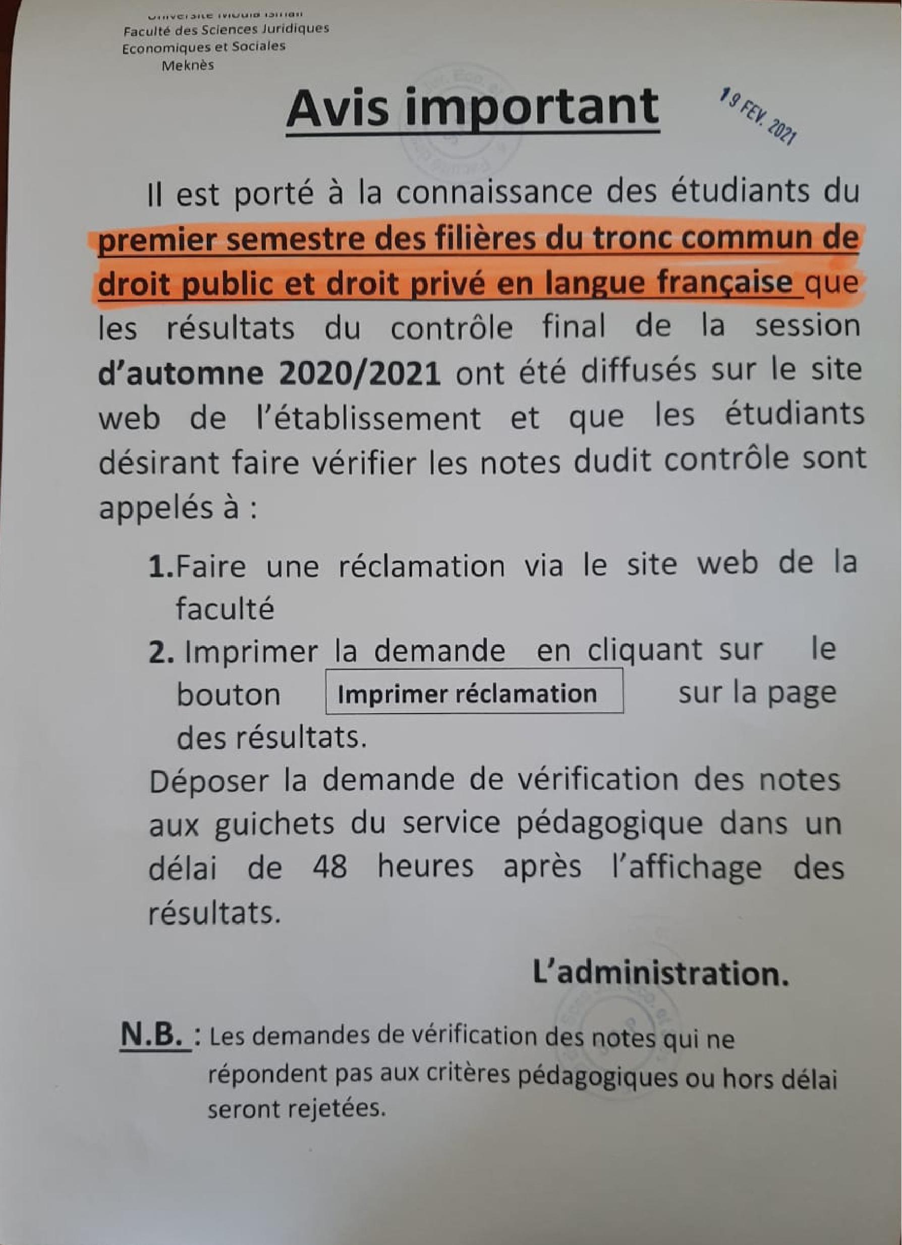 AVIS AUX ÉTUDIANTS DU PREMIER SEMESTRE DU TRONC COMMUN DE DROIT PUBLIC ET DROIT PRIVÉ EN LANGUE FRANÇAISE