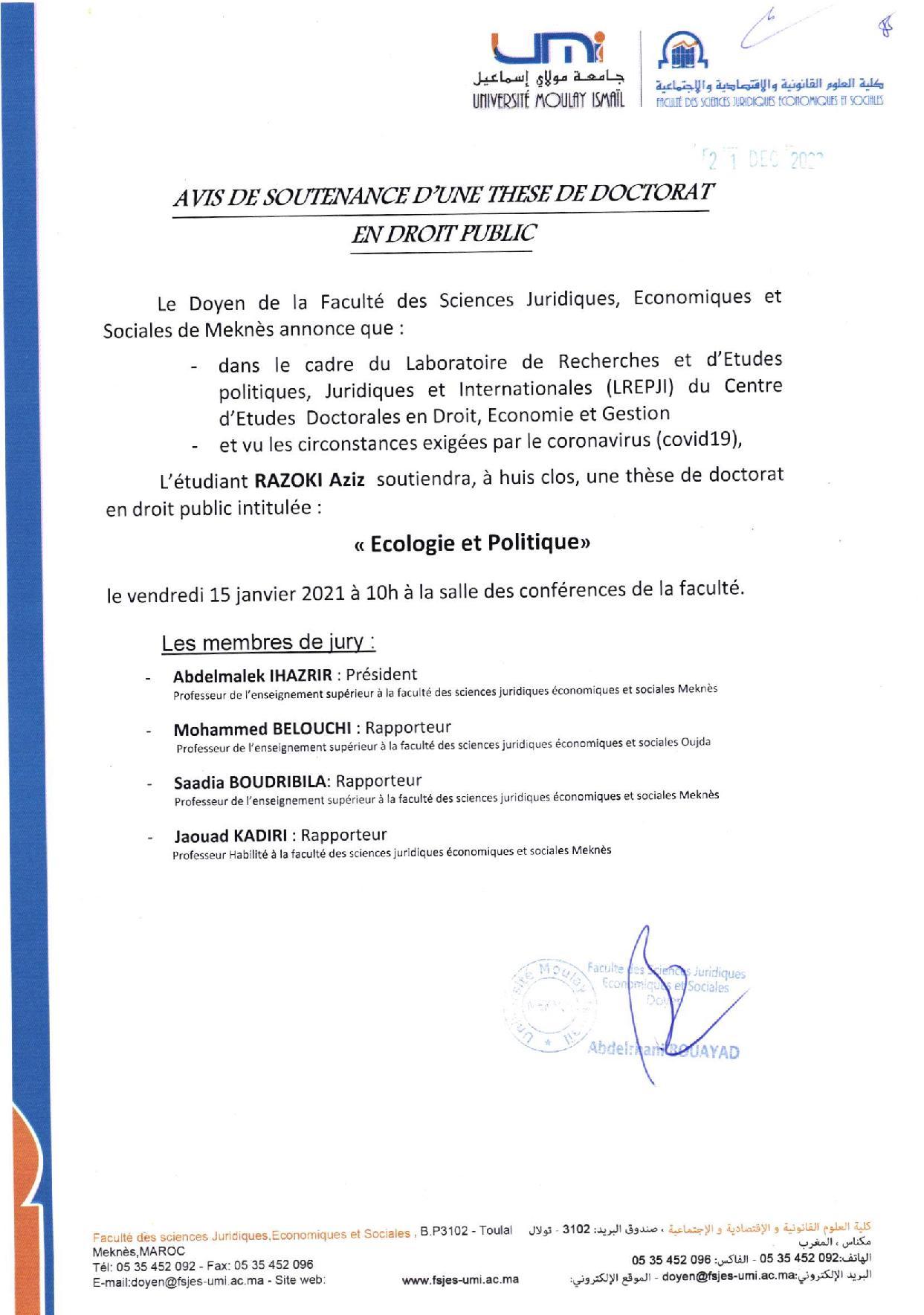 SOUTENANCE DE THÈSE DE DOCTORAT 15-01-2021