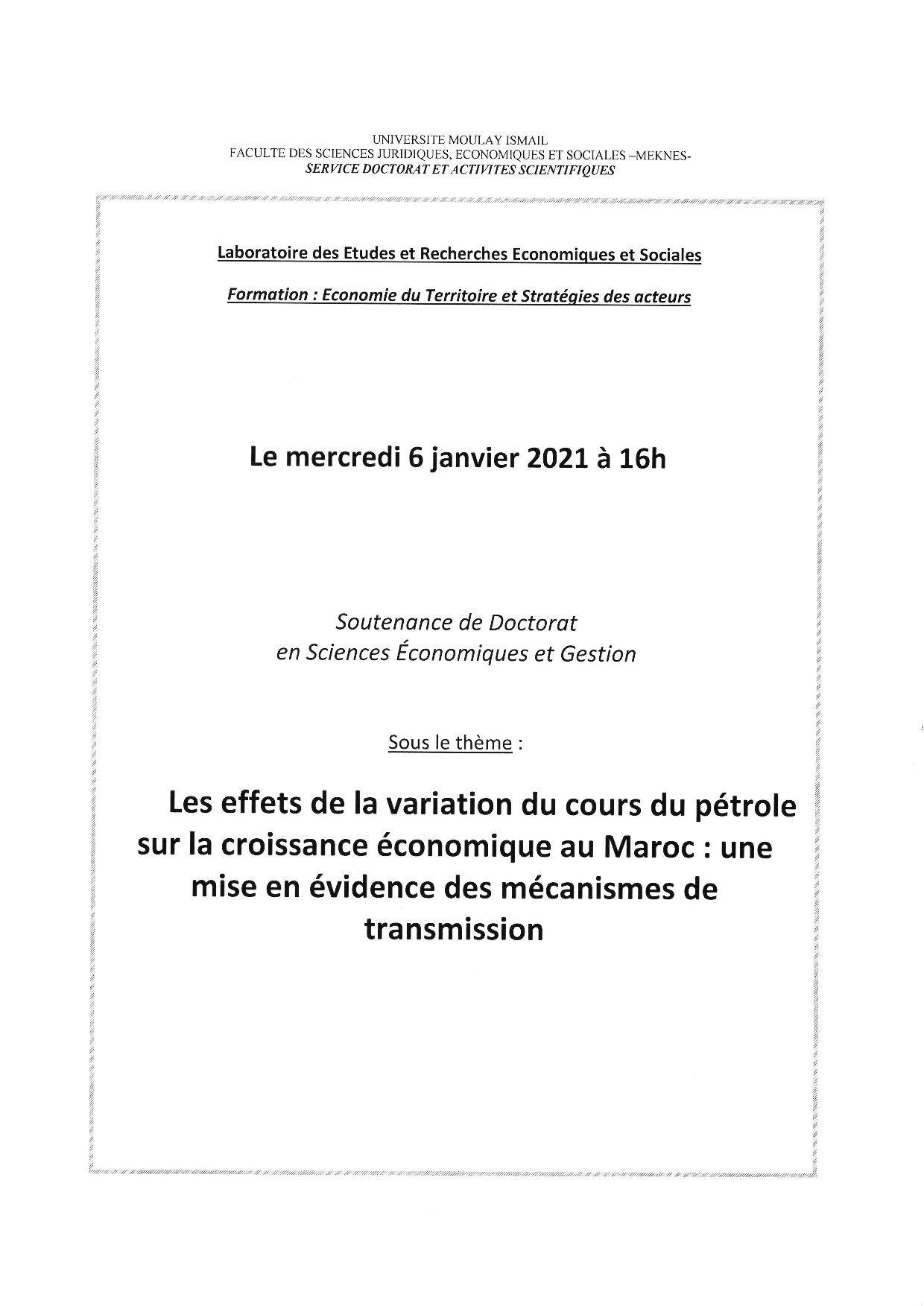 SOUTENANCE DE THÈSE DE DOCTORAT 06-01-2021
