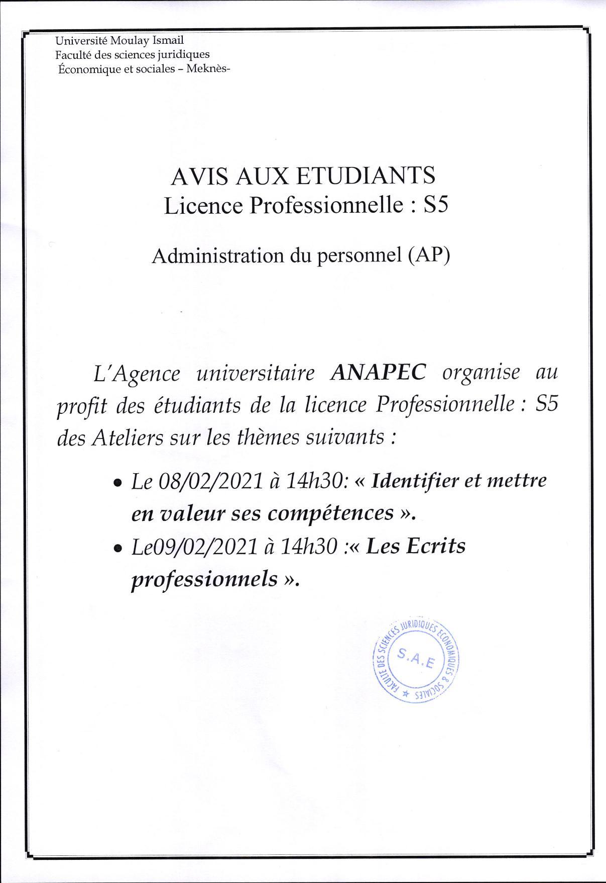 AVIS AUX ÉTUDIANTS LICENCE PROFESSIONNELLE : ADMINISTRATION DU PERSONNEL (AP)