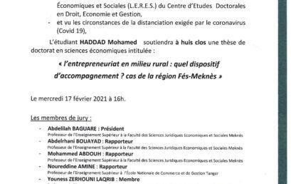 SOUTENANCE DE THÈSE DE DOCTORAT 17-02-2021