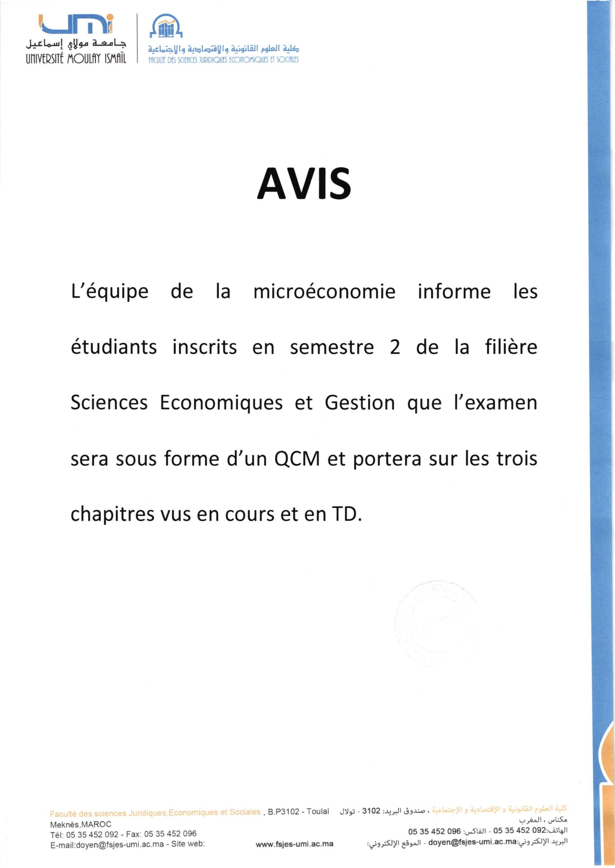 AVIS MICROECONOMIE EG2