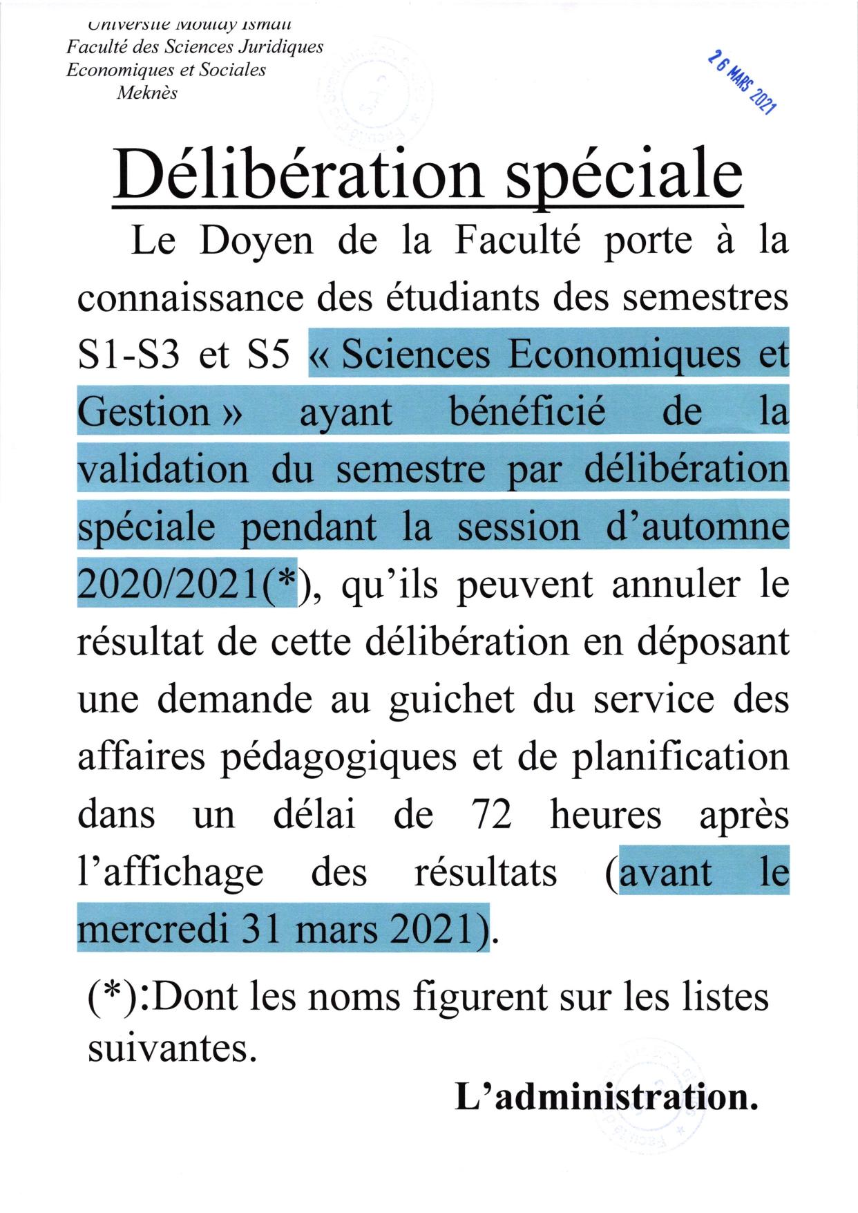 DÉLIBÉRATION SPÉCIALE EG