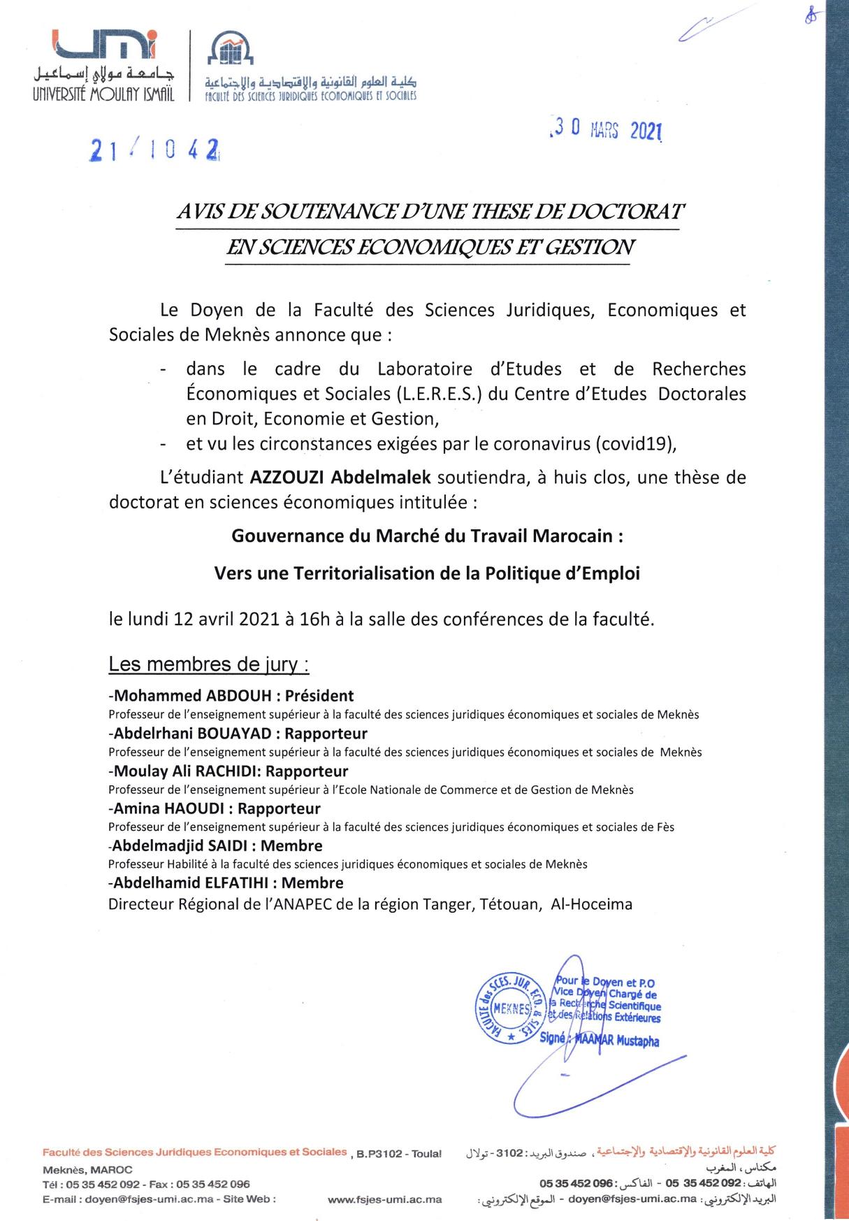 SOUTENANCE DE THÈSE DE DOCTORAT 12-04-2021
