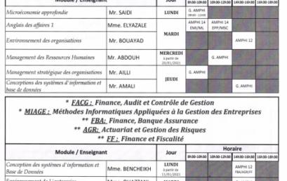 Emploi du Temps :Masters en Economie et Gestion S7