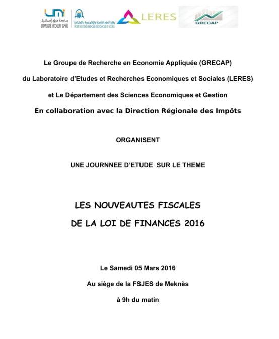 LES NOUVEAUTES FISCALES DE LA LOI DE FINANCES 2016