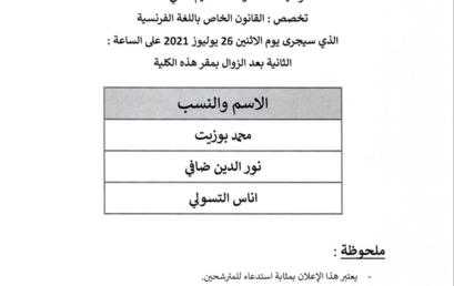 Liste des candidats convoqués pour passer l'entretien oral , Spécialité : Droit privé en langue française