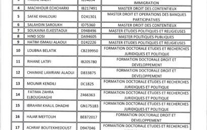 Liste des candidats admis au programme de Formation dans le domaine de la justice transitionnelle organisée dans le cadre de la coopération entre l'Université Moulay Ismail t l'Université de Seattle aux Etats-Unis