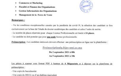 Avis de candidature pour l'inscription aux licences professionnelles 2021/2022
