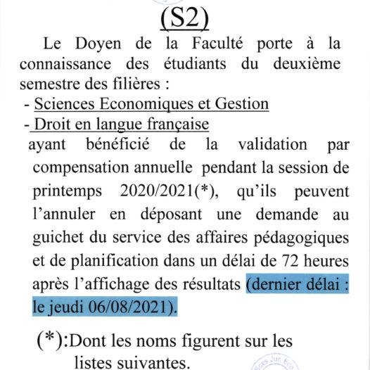 Compensation annuelle S2 (EG2/FD2)