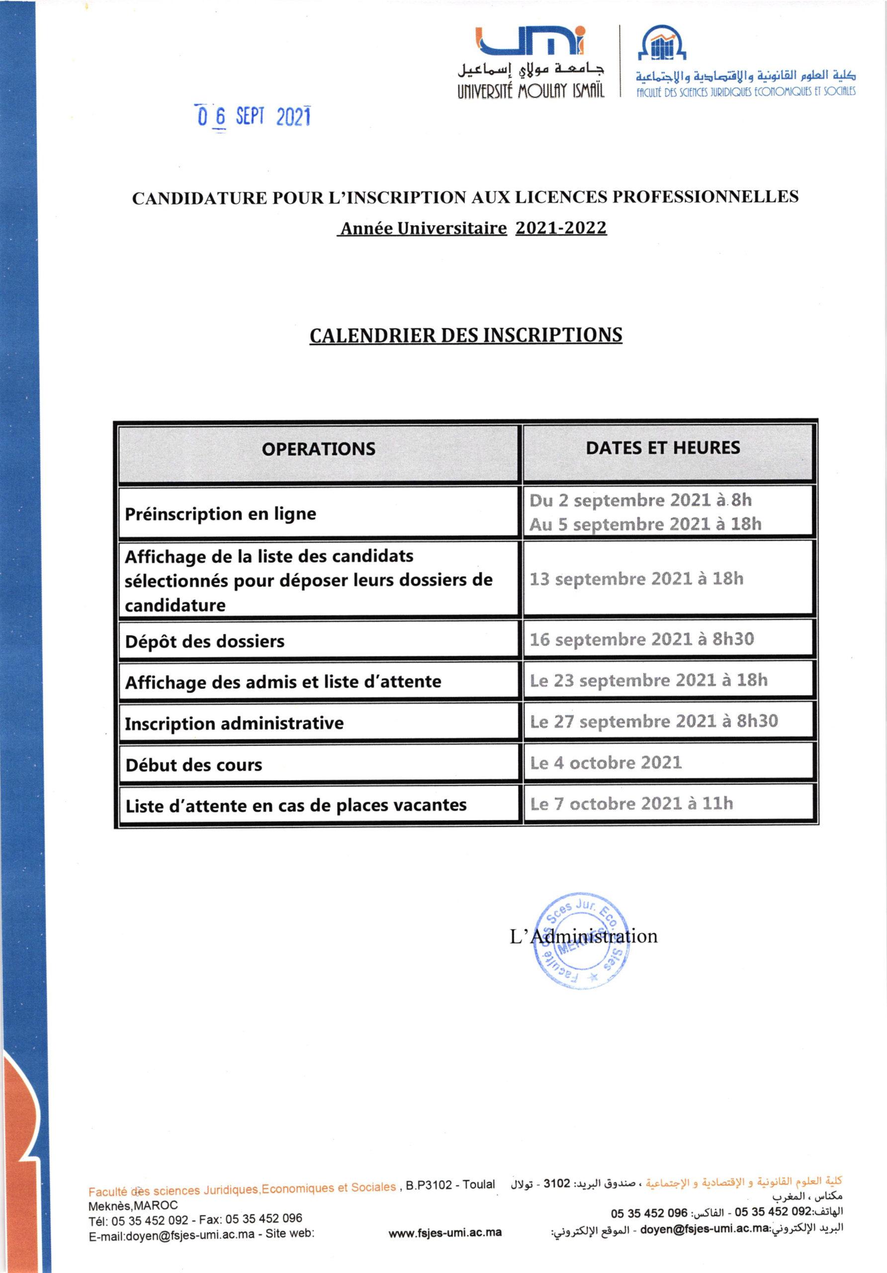 Avis candidature LP (2021-2022)