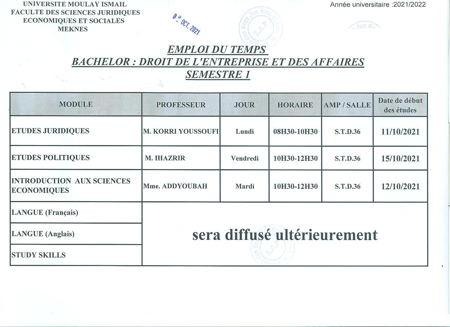 BACHELOR : Semestre 1 : DROIT DE L4ENTREPRISE ET DES AFFAIRES