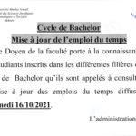 Cycle de Bachelor : Mise à jour de l'emploi du temps