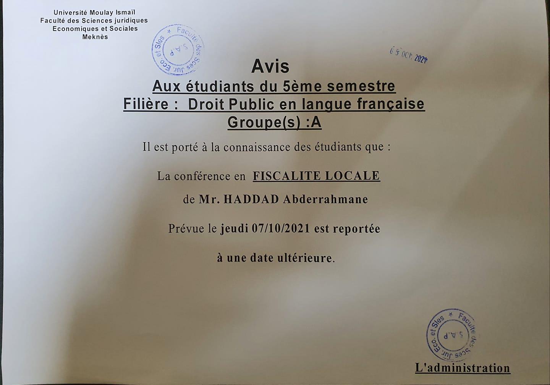 Avis aux étudiants du 5ème semestre Droit Public en langue française «Groupe (A)»
