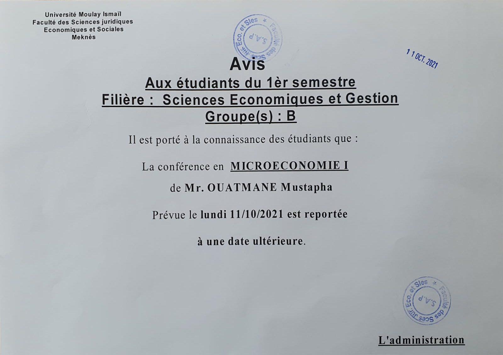 Avis aux étudiants du 1èr semestre sciences Economiques et Gestion «Groupe (B)»