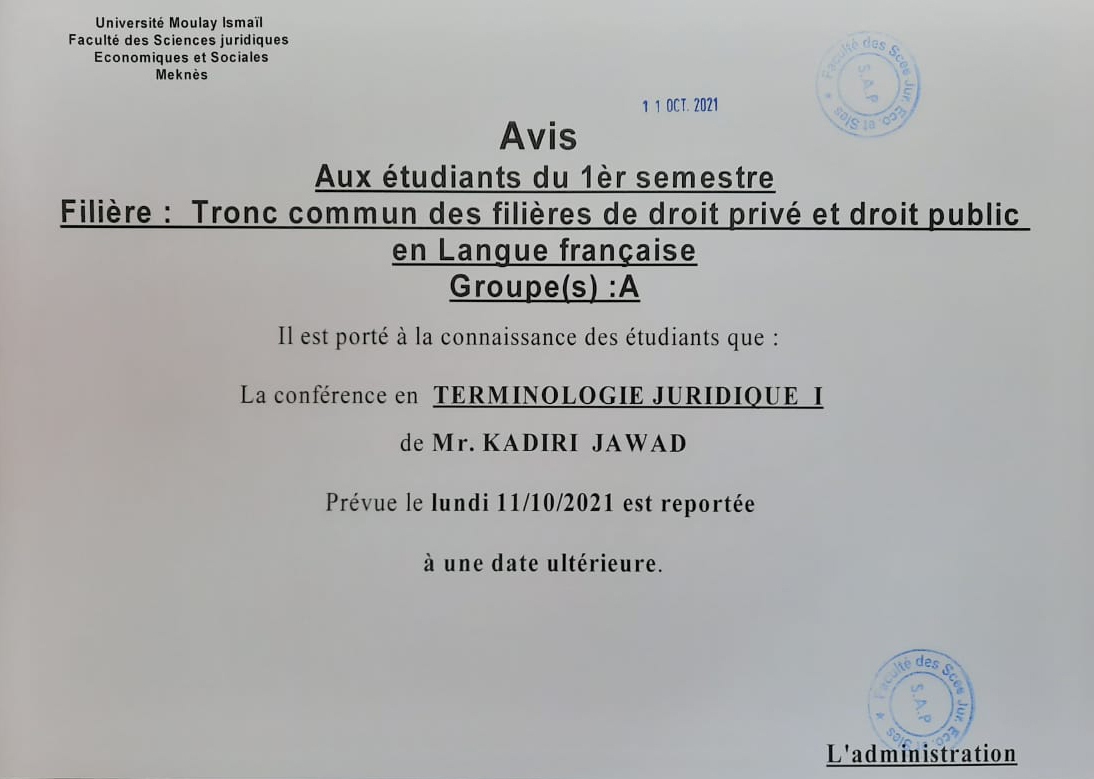 Avis aux étudiants du 1èr semestre Tronc commun des filières de droit privé et droit public en langue française «Groupe (A)»
